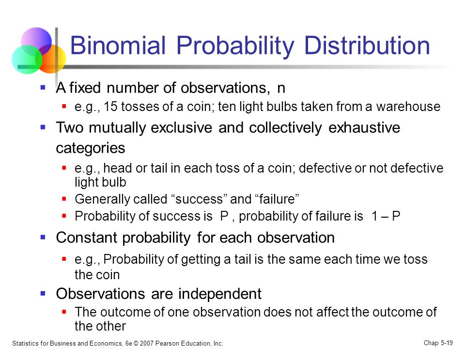 Statistics for Business and Economics, 6e © 2007 Pearson Education, Inc. Chap 5-19 Binomial Probability Distribution  A fixed number of observations,