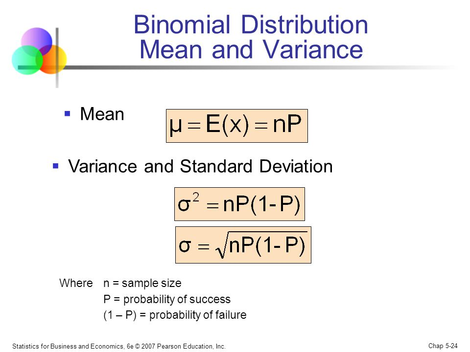 Statistics for Business and Economics, 6e © 2007 Pearson Education, Inc. Chap 5-24 Binomial Distribution Mean and Variance  Mean  Variance and Stand