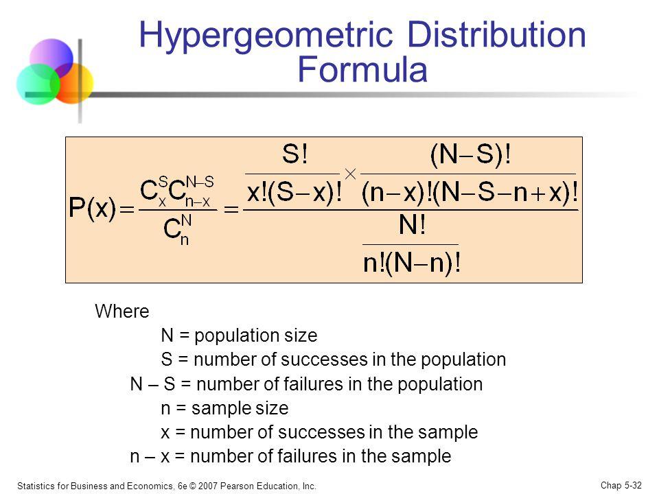 Statistics for Business and Economics, 6e © 2007 Pearson Education, Inc. Chap 5-32 Hypergeometric Distribution Formula Where N = population size S = n