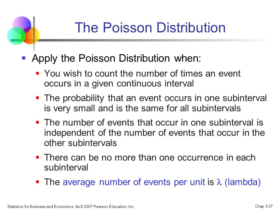 Statistics for Business and Economics, 6e © 2007 Pearson Education, Inc. Chap 5-37 The Poisson Distribution  Apply the Poisson Distribution when:  Y