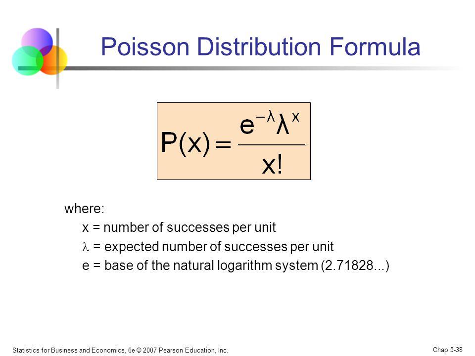 Statistics for Business and Economics, 6e © 2007 Pearson Education, Inc. Chap 5-38 Poisson Distribution Formula where: x = number of successes per uni