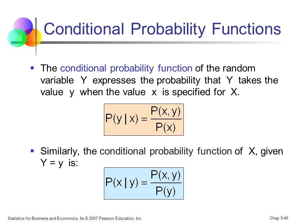 Statistics for Business and Economics, 6e © 2007 Pearson Education, Inc. Chap 5-46 Conditional Probability Functions  The conditional probability fun
