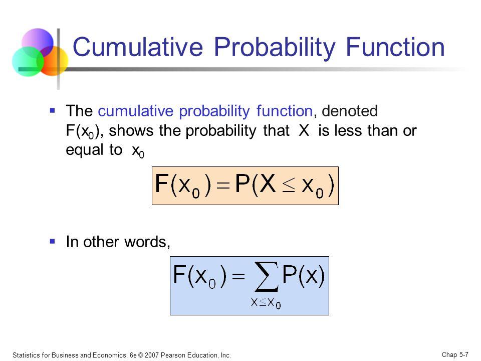Statistics for Business and Economics, 6e © 2007 Pearson Education, Inc. Chap 5-7 Cumulative Probability Function  The cumulative probability functio