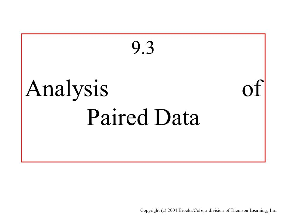 Copyright (c) 2004 Brooks/Cole, a division of Thomson Learning, Inc. 9.3 Analysis of Paired Data