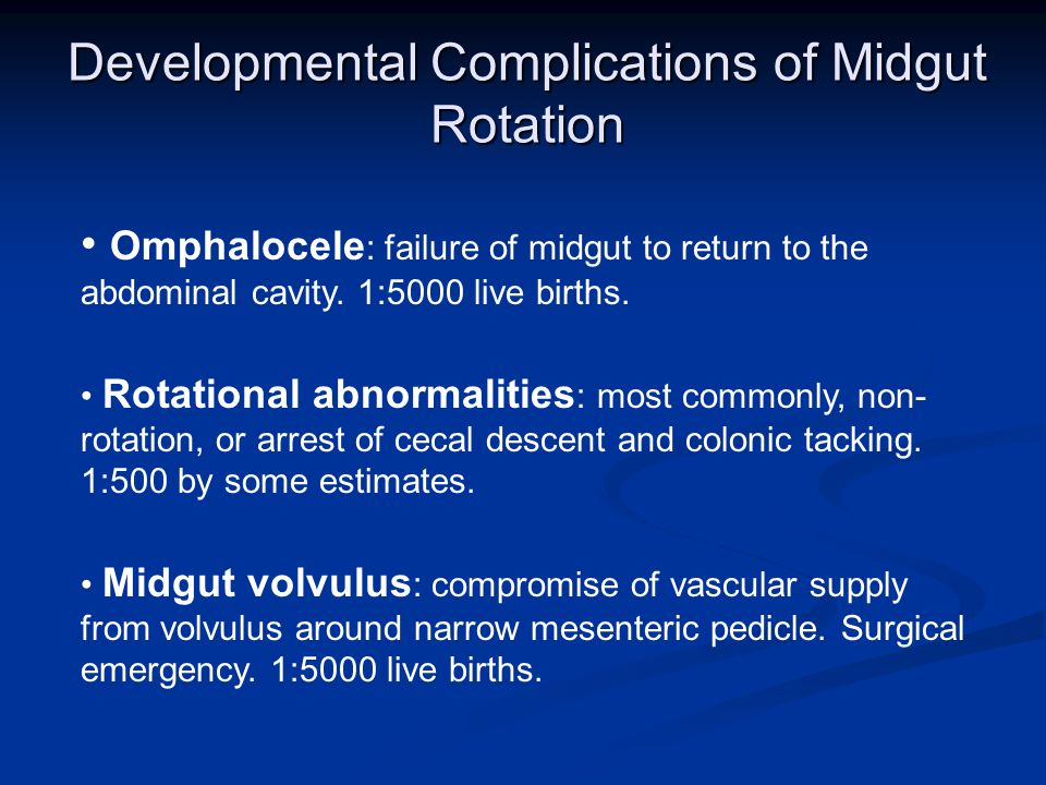 Developmental Complications of Midgut Rotation Omphalocele : failure of midgut to return to the abdominal cavity.