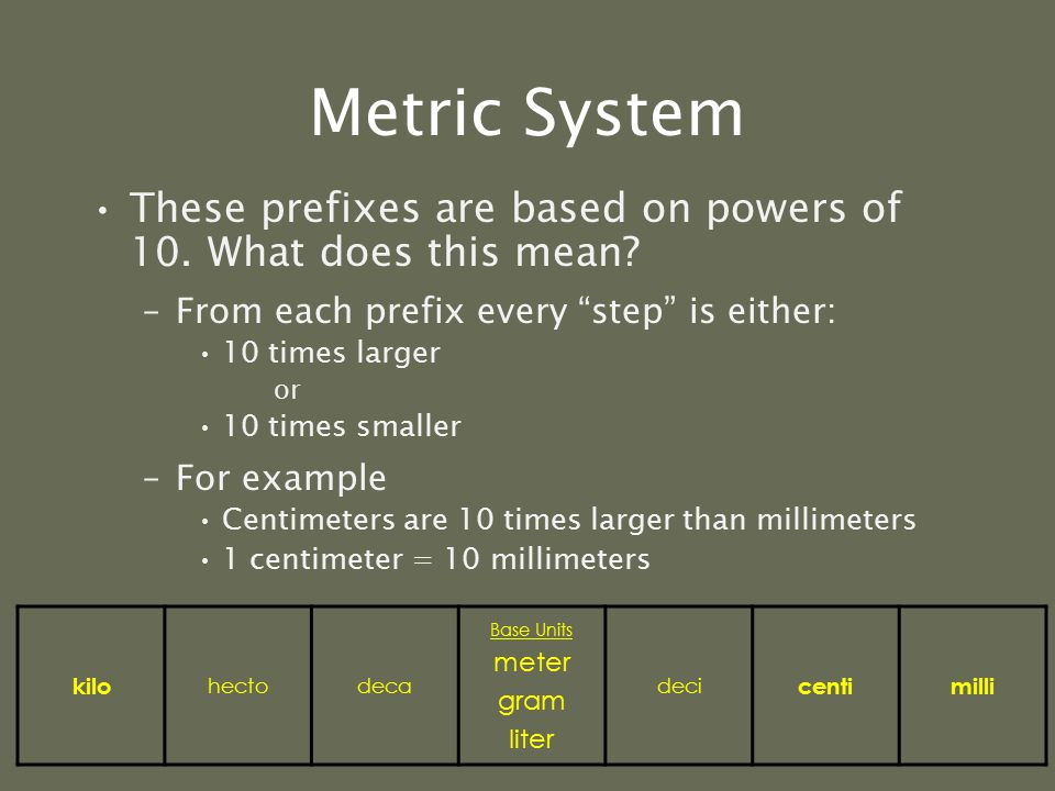 Metric System But what if you need to measure a longer distance, like from your house to school? –Let's say you live approximately 10 miles from schoo