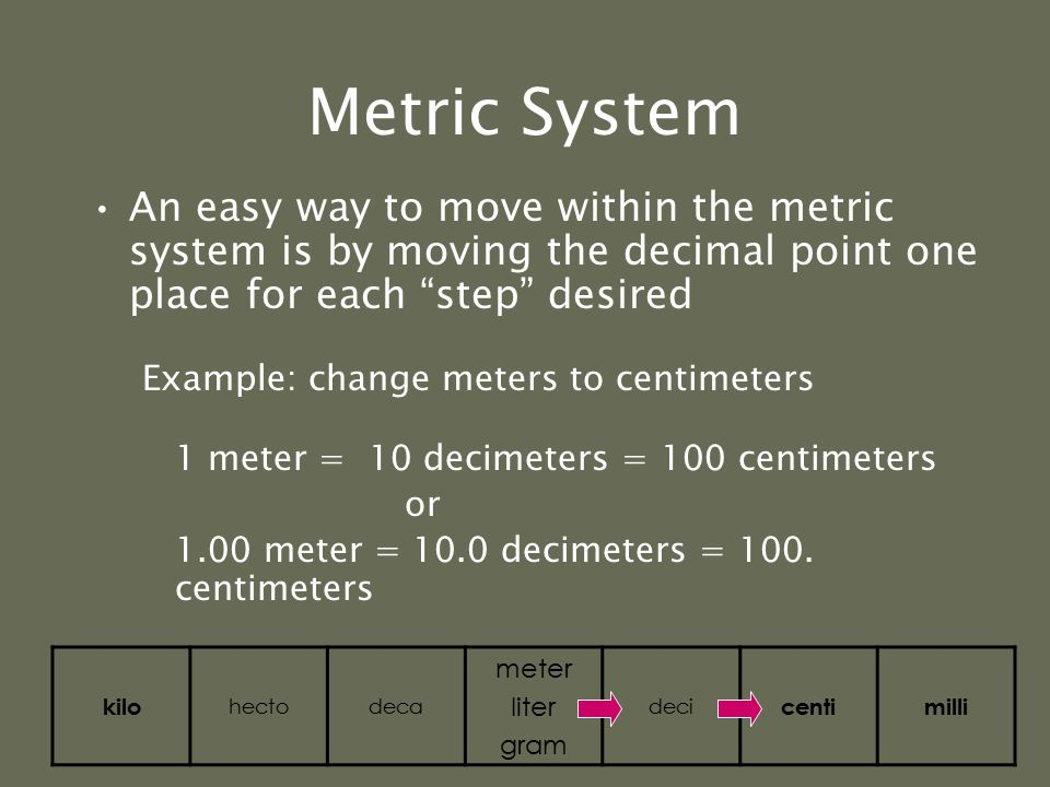 Metric System For each step to right, you are multiplying by 10 For example, let's go from a base unit to centi 1 liter = 10 deciliters = 100 centiliters 2 grams = 20 decigrams = 200 centigrams kilo hectodeca meter liter gram deci centimilli ( 1 x 10 = 10) = (10 x 10 = 100) (2 x 10 = 20) = (20 x 10 = 200)