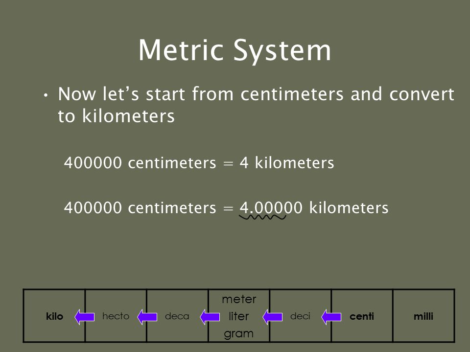 Metric System If you move to the left in the diagram, move the decimal to the left If you move to the right in the diagram, move the decimal to the ri
