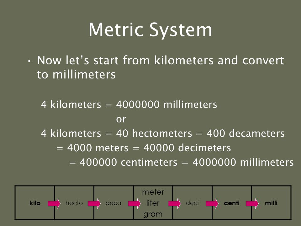 Metric System Now let's start from meters and convert to centimeters 5 meters = 500 centimeters kilo hectodeca meter liter gram deci centimilli kilo h