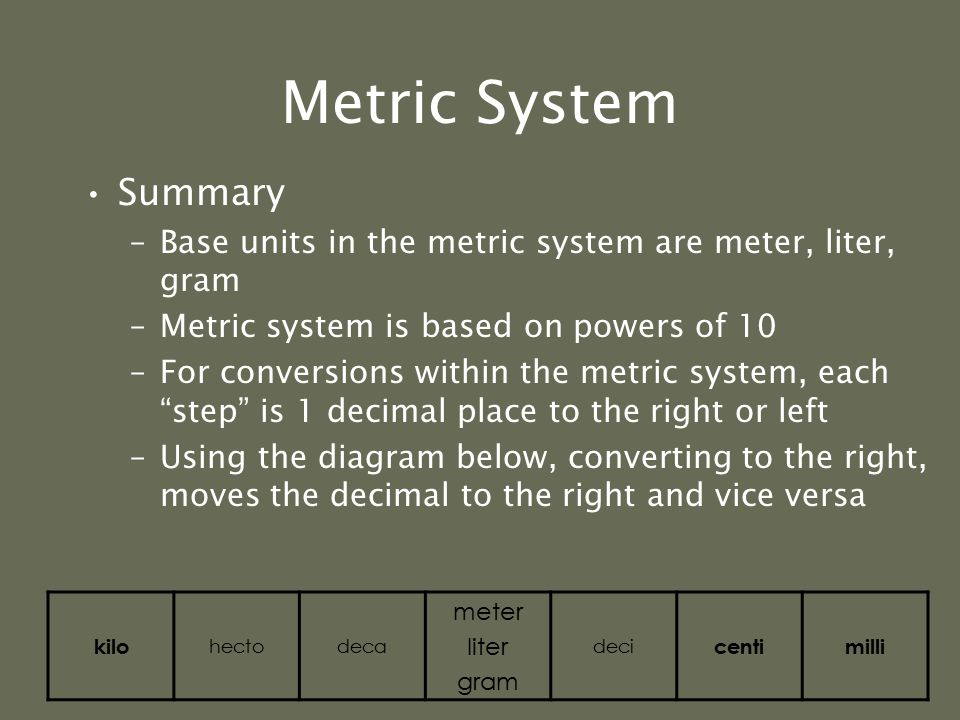 Metric System Now let's start from kilometers and convert to millimeters 4 kilometers = 4000000 millimeters or 4 kilometers = 40 hectometers = 400 dec