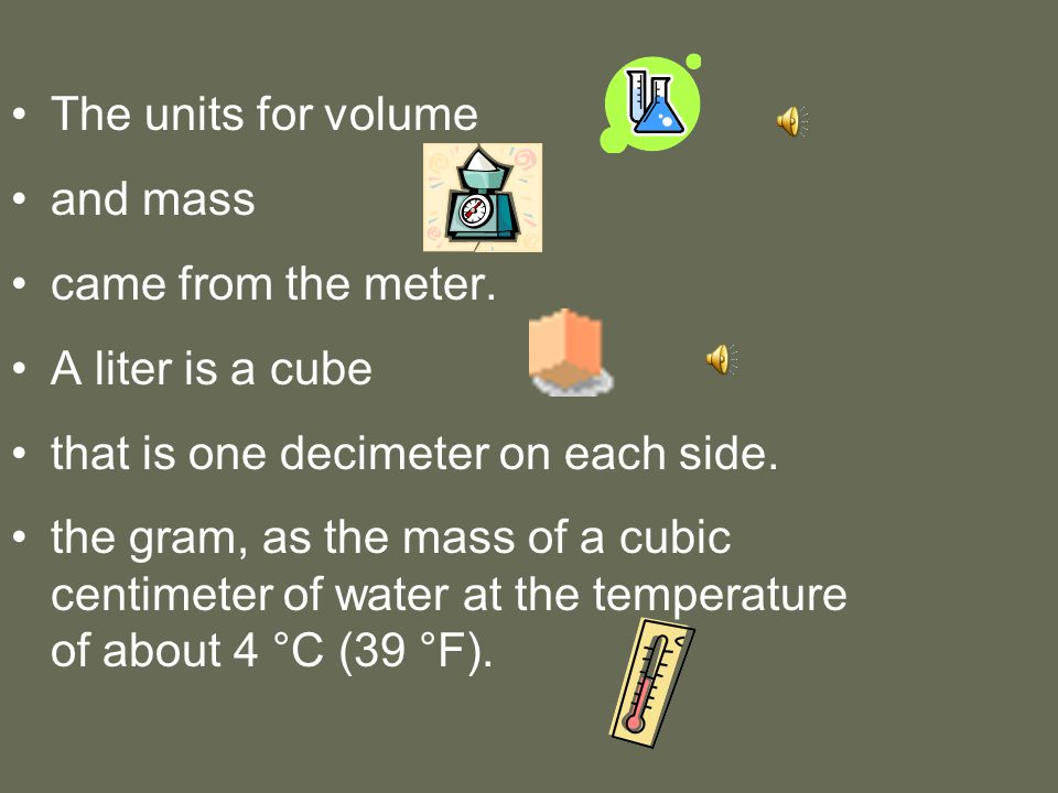 Metric System The metric system is based on a base unit that corresponds to a certain kind of measurement Length = meter Volume = liter Weight (Mass) = gram Prefixes plus base units make up the metric system –Example: Centi + meter = Centimeter Kilo + liter = Kiloliter