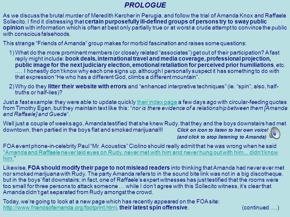 Murder in Perugia Friends Of Amanda Associates – Internal Memo To: David Marriott From: C Dear Mr.