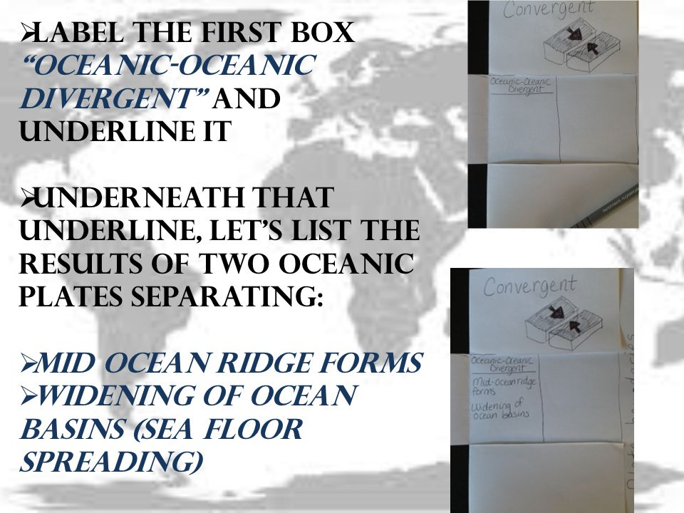  Label the first box Oceanic-Oceanic Divergent and underline it  Underneath that underline, let's list the results of two oceanic plates separating:  Mid ocean ridge forms  Widening of ocean basins (sea Floor spreading)