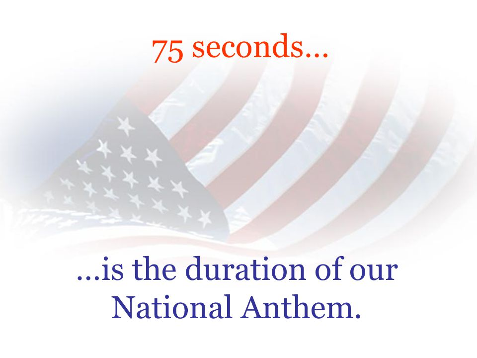 For 75 seconds… …think about what a Flag at half mast really means.