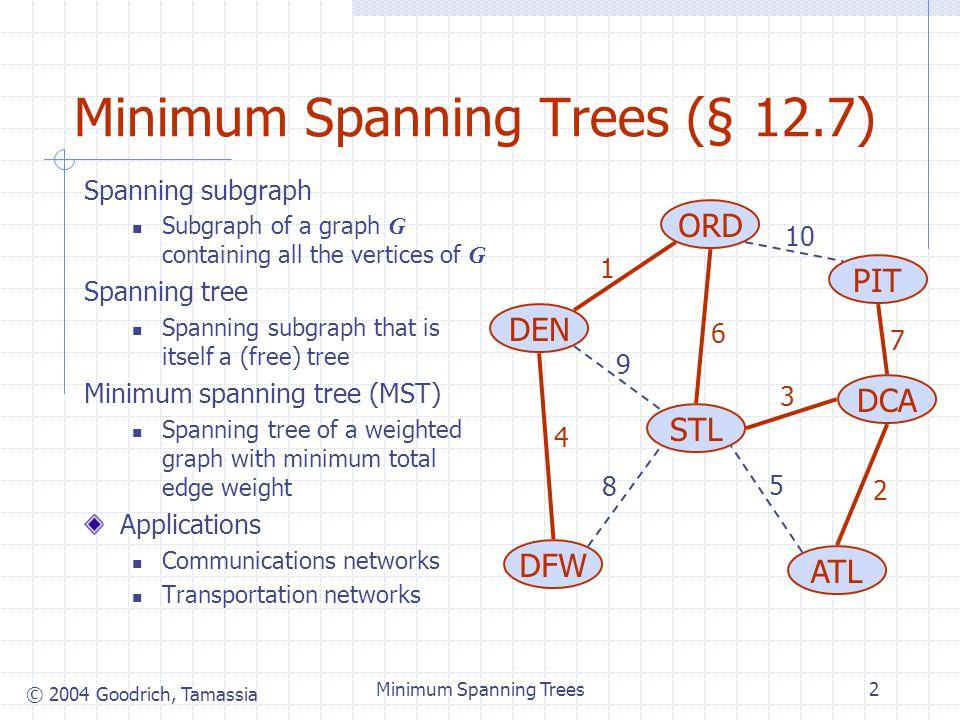 © 2004 Goodrich, Tamassia Minimum Spanning Trees13 Example
