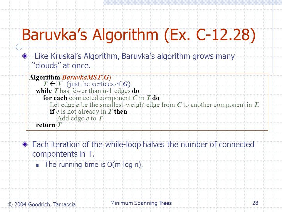 "© 2004 Goodrich, Tamassia Minimum Spanning Trees28 Baruvka's Algorithm (Ex. C-12.28) Like Kruskal's Algorithm, Baruvka's algorithm grows many ""clouds"""