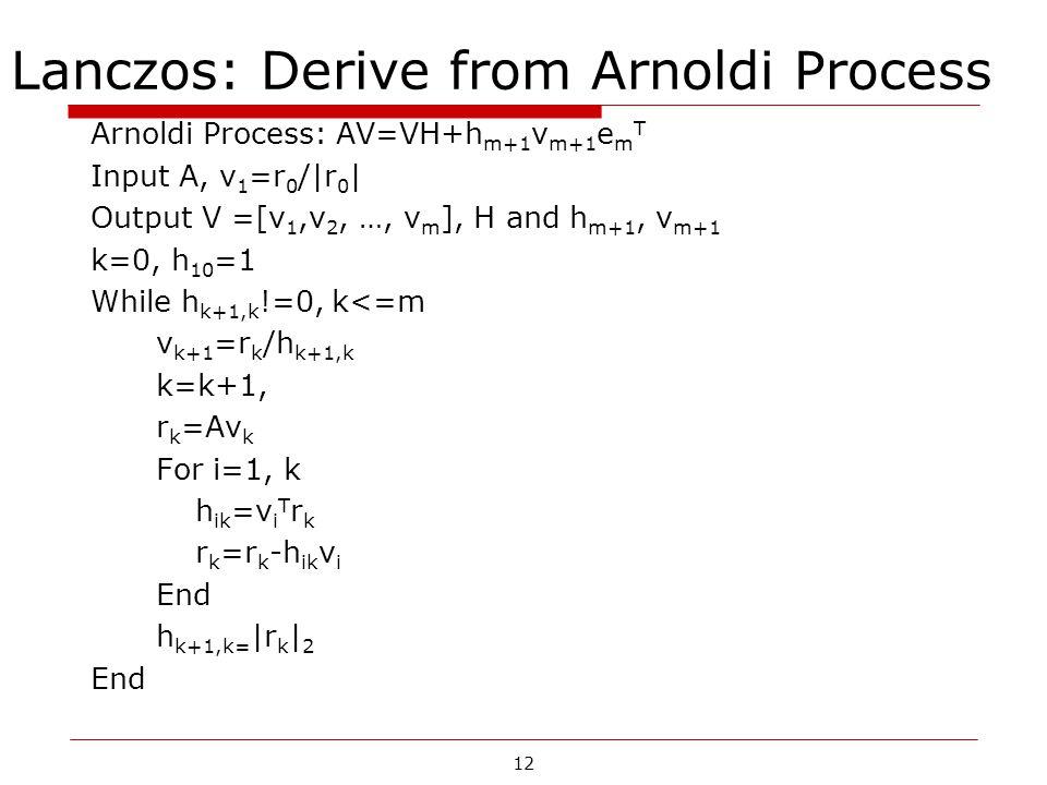 12 Lanczos: Derive from Arnoldi Process Arnoldi Process: AV=VH+h m+1 v m+1 e m T Input A, v 1 =r 0 /|r 0 | Output V =[v 1,v 2, …, v m ], H and h m+1, v m+1 k=0, h 10 =1 While h k+1,k !=0, k<=m v k+1 =r k /h k+1,k k=k+1, r k =Av k For i=1, k h ik =v i T r k r k =r k -h ik v i End h k+1,k= |r k | 2 End