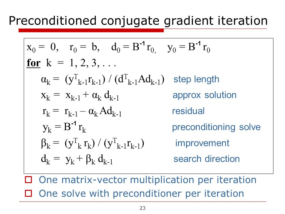 23 Preconditioned conjugate gradient iteration x 0 = 0, r 0 = b, d 0 = B -1 r 0, y 0 = B -1 r 0 for k = 1, 2, 3,... α k = (y T k-1 r k-1 ) / (d T k-1
