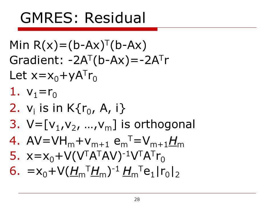 28 GMRES: Residual Min R(x)=(b-Ax) T (b-Ax) Gradient: -2A T (b-Ax)=-2A T r Let x=x 0 +yA T r 0 1.v 1 =r 0 2.v i is in K{r 0, A, i} 3.V=[v 1,v 2, …,v m ] is orthogonal H 4.AV=VH m +v m+1 e m T =V m+1 H m 5.x=x 0 +V(V T A T AV) -1 V T A T r 0 HHH 6.=x 0 +V(H m T H m ) -1 H m T e 1 |r 0 | 2