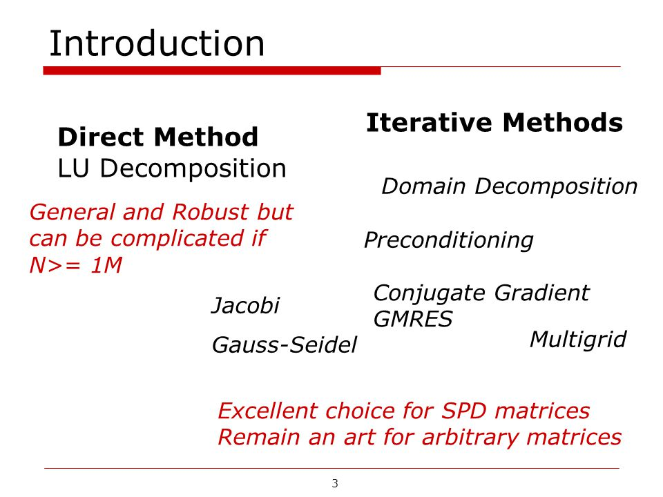 3 Introduction Direct Method LU Decomposition Iterative Methods Jacobi Gauss-Seidel Conjugate Gradient GMRES Multigrid Domain Decomposition Preconditi