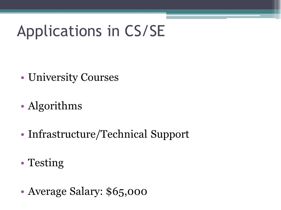 Applications in CS/SE University Courses Algorithms Infrastructure/Technical Support Testing Average Salary: $65,000