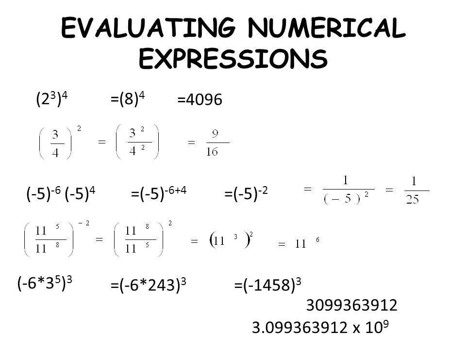 EVALUATING NUMERICAL EXPRESSIONS (2 3 ) 4 (-5) -6 (-5) 4 (-6*3 5 ) 3 =(8) 4 =4096 =(-5) -6+4 =(-5) -2 =(-6*243) 3 =(-1458) 3 3099363912 3.099363912 x
