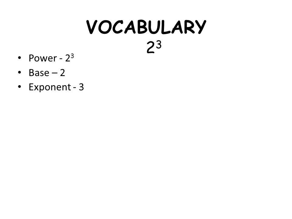VOCABULARY Power - 2 3 Base – 2 Exponent - 3 2323