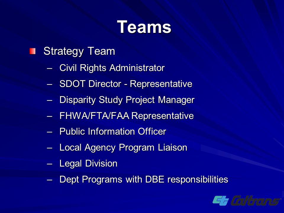 Strategy Team –Civil Rights Administrator –SDOT Director - Representative –Disparity Study Project Manager –FHWA/FTA/FAA Representative –Public Inform
