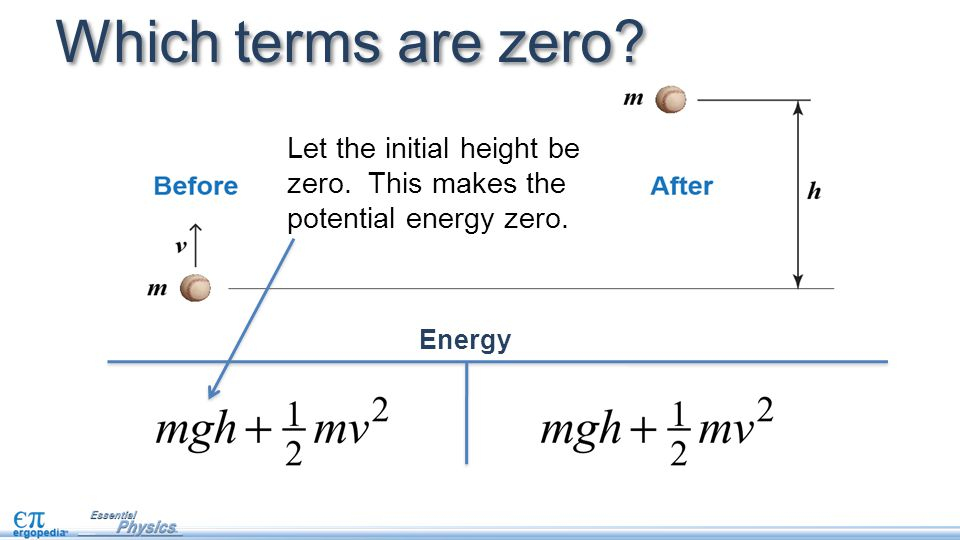 Which terms are zero? Energy Let the initial height be zero. This makes the potential energy zero.