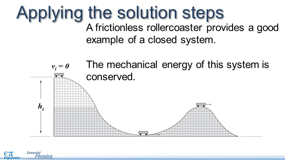 Applying the solution steps A frictionless rollercoaster provides a good example of a closed system.