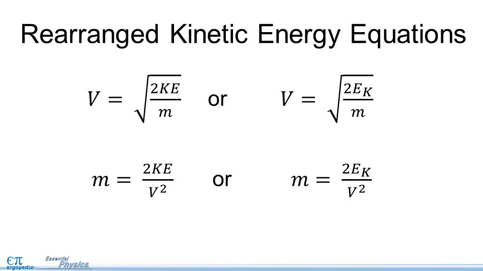 Rearranged Kinetic Energy Equations