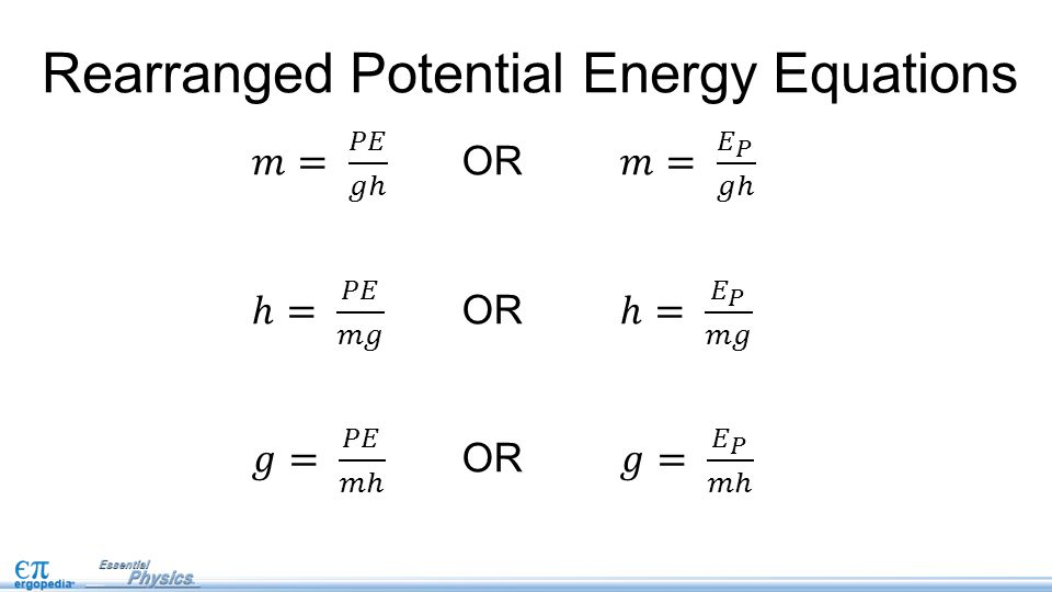 Equations For any closed system that undergoes a change, the total energy before the change is the same as the total energy after the change.