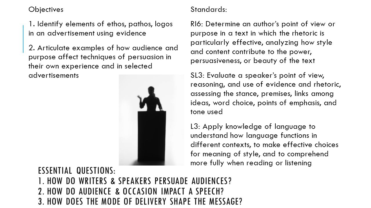 ESSENTIAL QUESTIONS: 1.HOW DO WRITERS & SPEAKERS PERSUADE AUDIENCES.