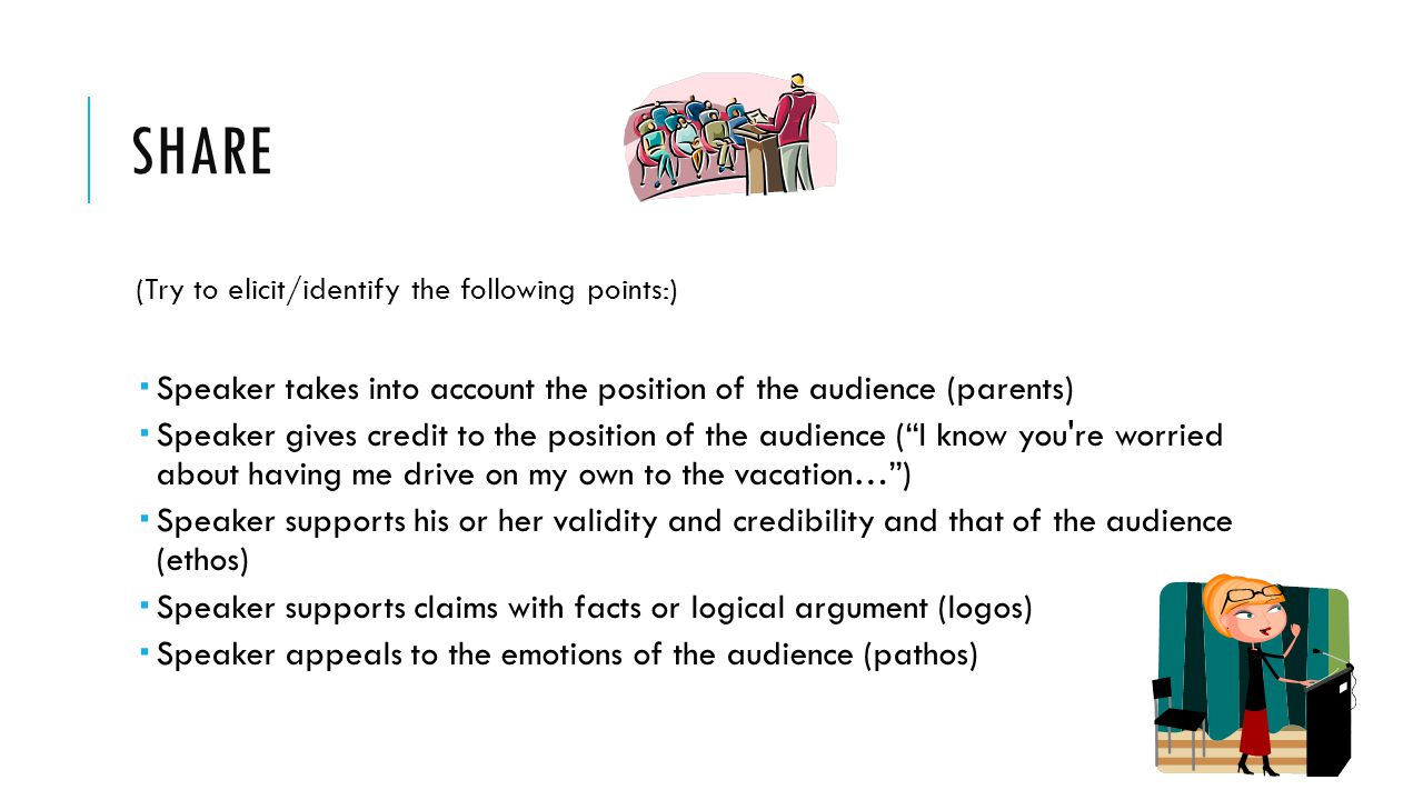 SHARE (Try to elicit/identify the following points:)  Speaker takes into account the position of the audience (parents)  Speaker gives credit to the position of the audience ( I know you re worried about having me drive on my own to the vacation… )  Speaker supports his or her validity and credibility and that of the audience (ethos)  Speaker supports claims with facts or logical argument (logos)  Speaker appeals to the emotions of the audience (pathos)