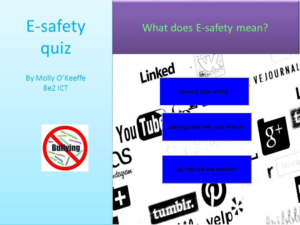 What does E-safety mean? E-safety quiz By Molly O'Keeffe 8e2 ICT