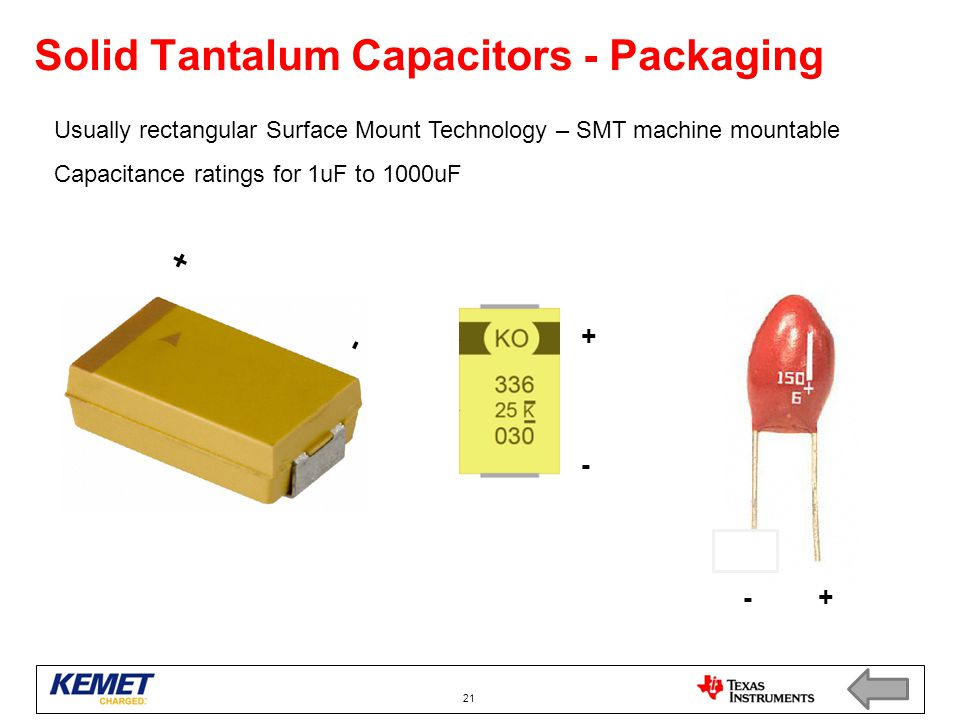 Solid Tantalum Capacitors - Packaging Usually rectangular Surface Mount Technology – SMT machine mountable Capacitance ratings for 1uF to 1000uF 21 +-+- +-+- - +