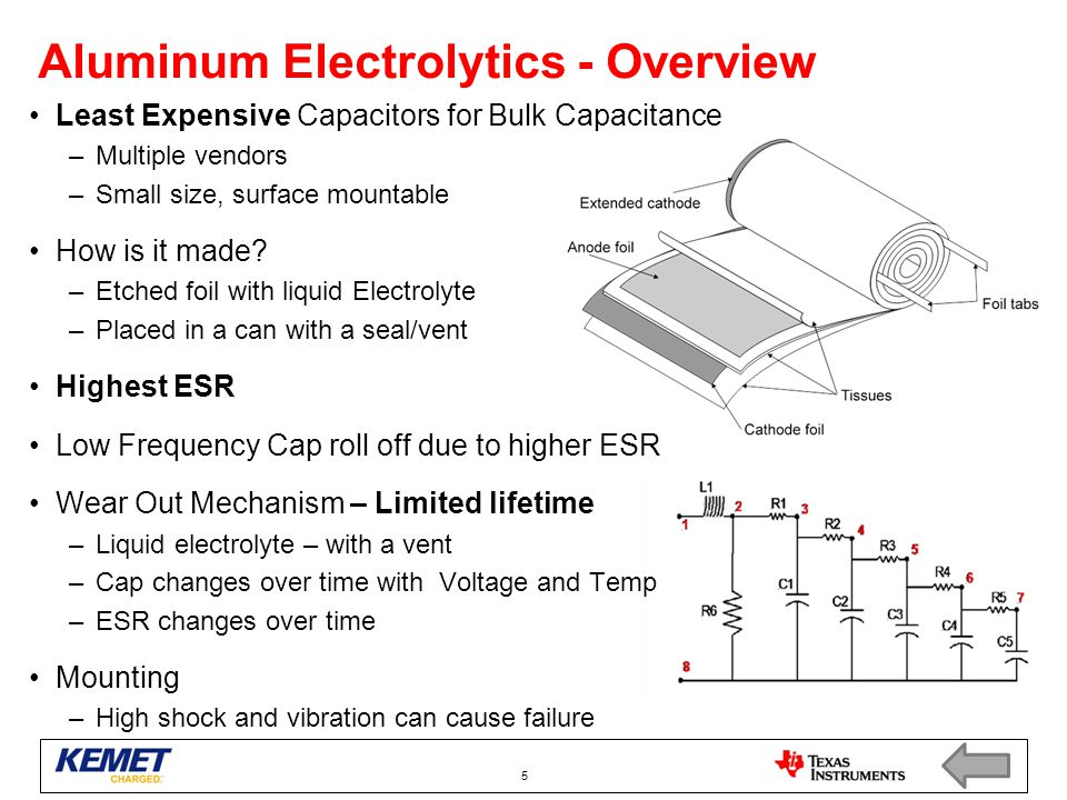 Aluminum Electrolytics - Overview Least Expensive Capacitors for Bulk Capacitance –Multiple vendors –Small size, surface mountable How is it made? –Et