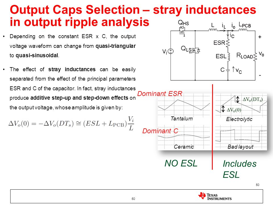 Output Caps Selection – stray inductances in output ripple analysis 50 Depending on the constant ESR x C, the output voltage waveform can change from quasi-triangular to quasi-sinusoidal.