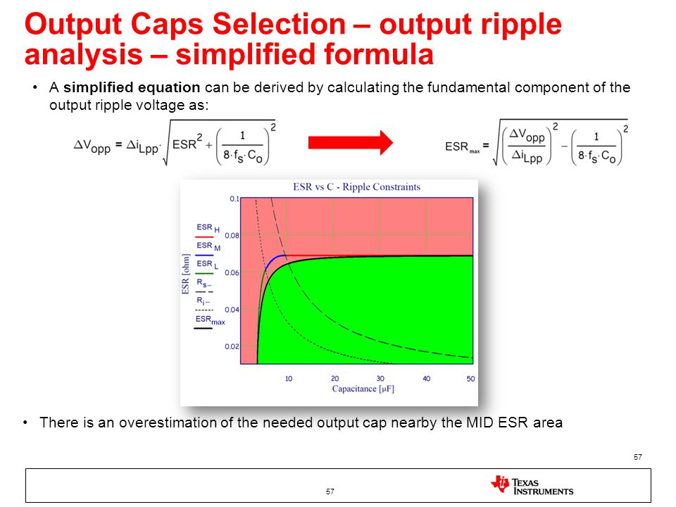 Output Caps Selection – output ripple analysis – simplified formula 57 A simplified equation can be derived by calculating the fundamental component o