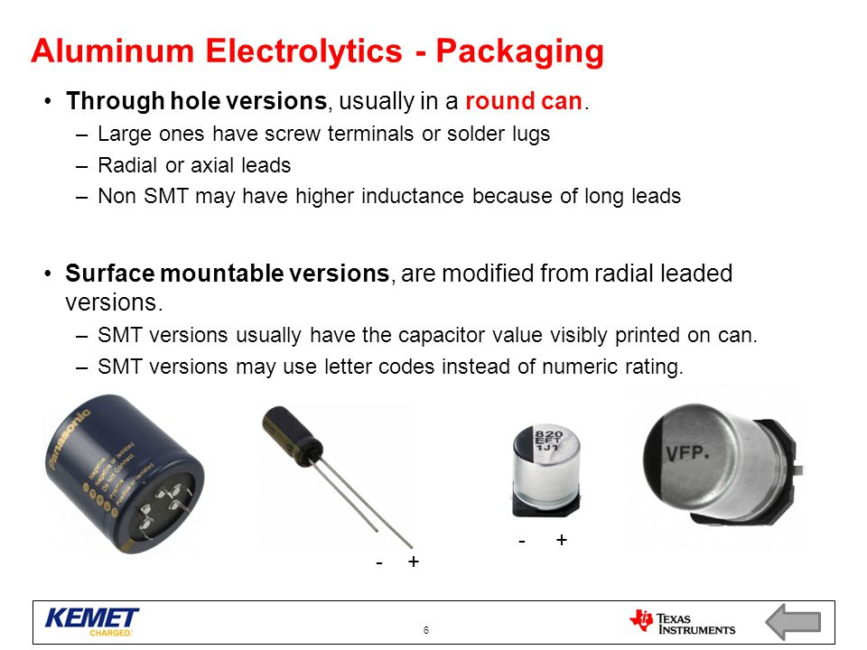 Aluminum Electrolytics - Packaging Through hole versions, usually in a round can.