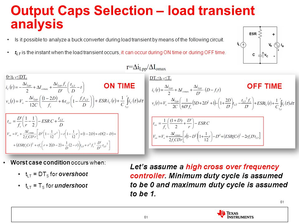 Output Caps Selection – load transient analysis 61 Is it possible to analyze a buck converter during load transient by means of the following circuit.