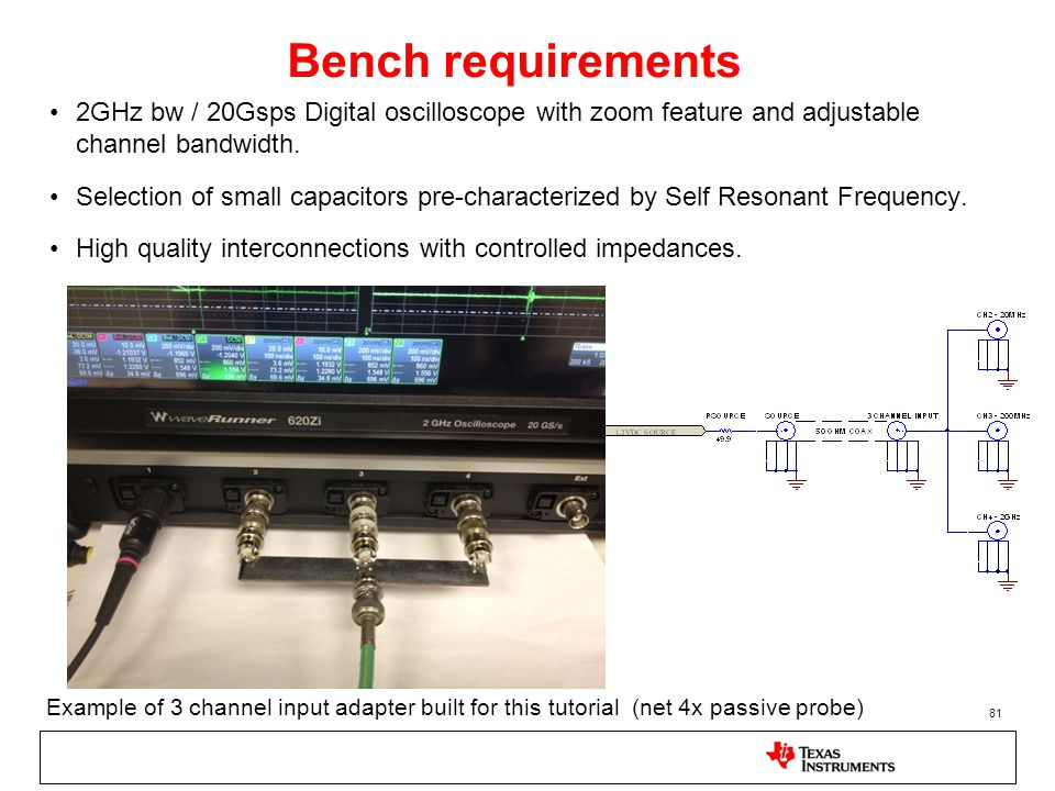 81 Bench requirements 2GHz bw / 20Gsps Digital oscilloscope with zoom feature and adjustable channel bandwidth. Selection of small capacitors pre-char