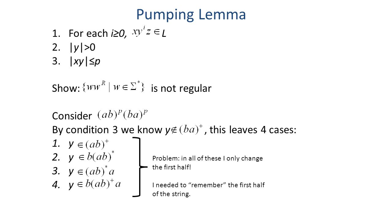 Pumping Lemma 1.For each i≥0, L 2.|y|>0 3.|xy|≤p Show: is not regular Consider By condition 3 we know y, this leaves 4 cases: 1.y 2.y 3.y 4.y Problem: