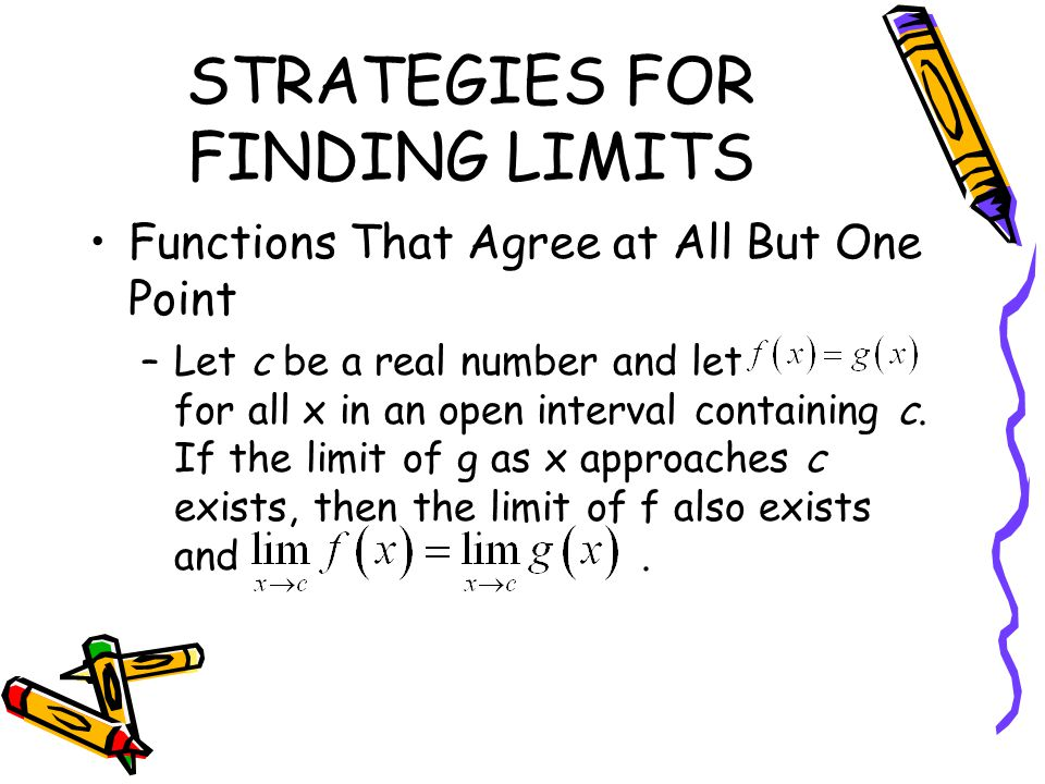 STRATEGIES FOR FINDING LIMITS Functions That Agree at All But One Point –Let c be a real number and let for all x in an open interval containing c. If