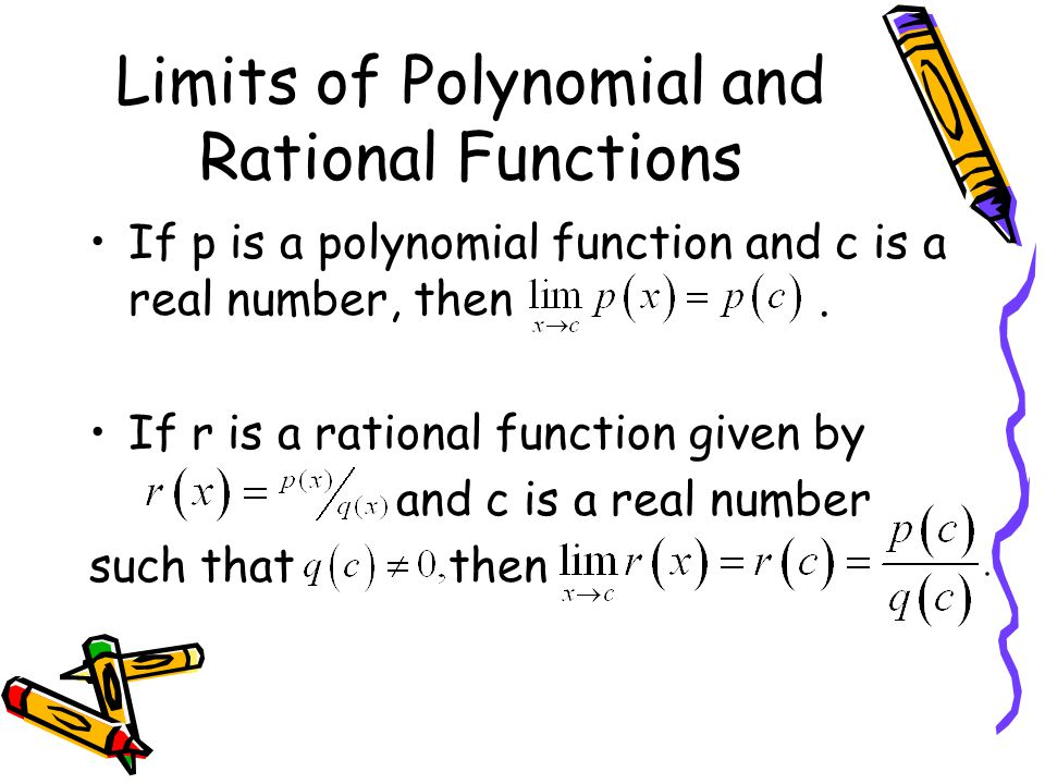 Limits of Polynomial and Rational Functions If p is a polynomial function and c is a real number, then. If r is a rational function given by and c is