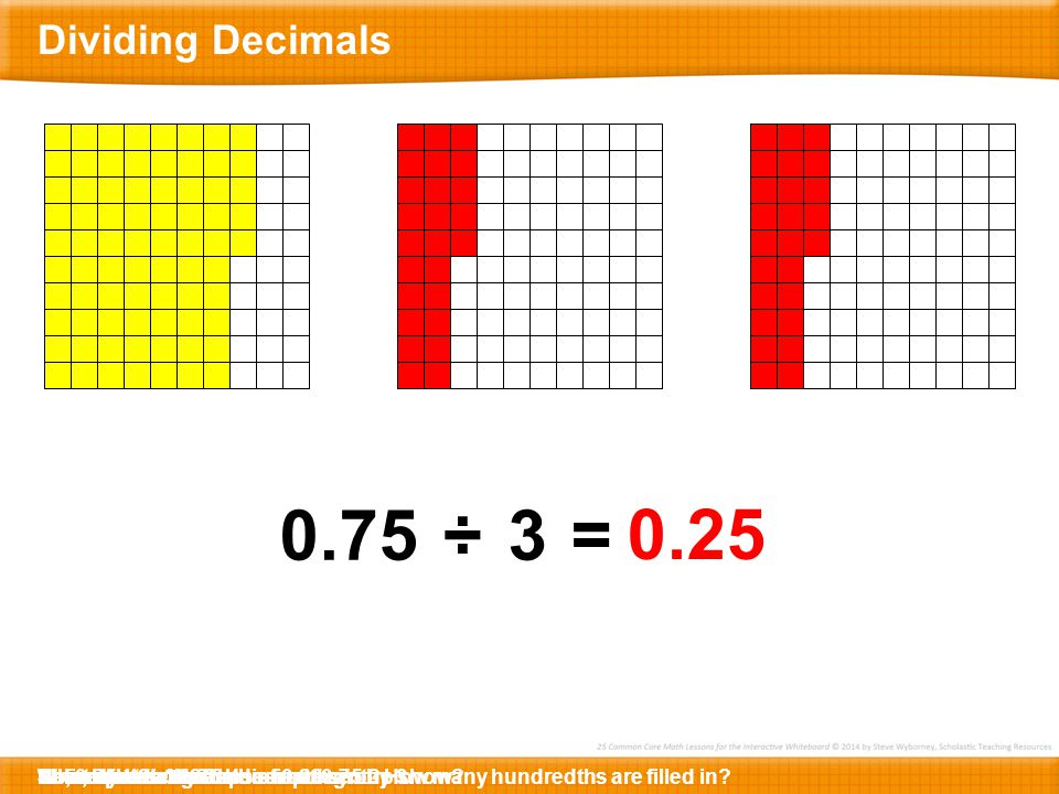 0 2 041..70.0 Before we mark the decimal point, let's simply divide the numbers.2Now, let's manage the placement of the decimal point.Let's mark the decimal point directly above...… and place it right here.1.4 divided by 0.07 is 20.Since there are no digits in the decimal places, let's erase the decimal point.