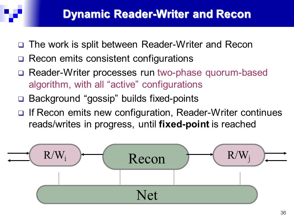 36 Dynamic Reader-Writer and Recon  The work is split between Reader-Writer and Recon  Recon emits consistent configurations  Reader-Writer processes run two-phase quorum-based algorithm, with all active configurations  Background gossip builds fixed-points  If Recon emits new configuration, Reader-Writer continues reads/writes in progress, until fixed-point is reached Net R/W i Recon R/W j