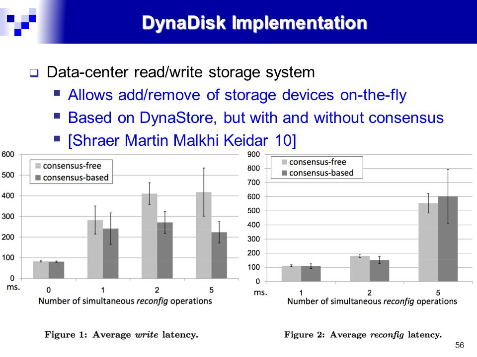 56 DynaDisk Implementation  Data-center read/write storage system  Allows add/remove of storage devices on-the-fly  Based on DynaStore, but with and without consensus  [Shraer Martin Malkhi Keidar 10]