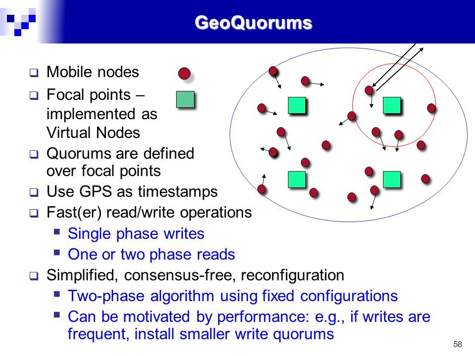 58GeoQuorums  Mobile nodes  Focal points – implemented as Virtual Nodes  Quorums are defined over focal points  Use GPS as timestamps  Fast(er) read/write operations  Single phase writes  One or two phase reads  Simplified, consensus-free, reconfiguration  Two-phase algorithm using fixed configurations  Can be motivated by performance: e.g., if writes are frequent, install smaller write quorums