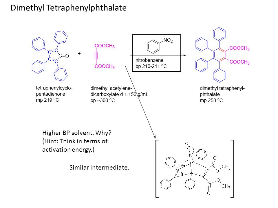 Dimethyl Tetraphenylphthalate Similar intermediate. Higher BP solvent. Why? (Hint: Think in terms of activation energy.)